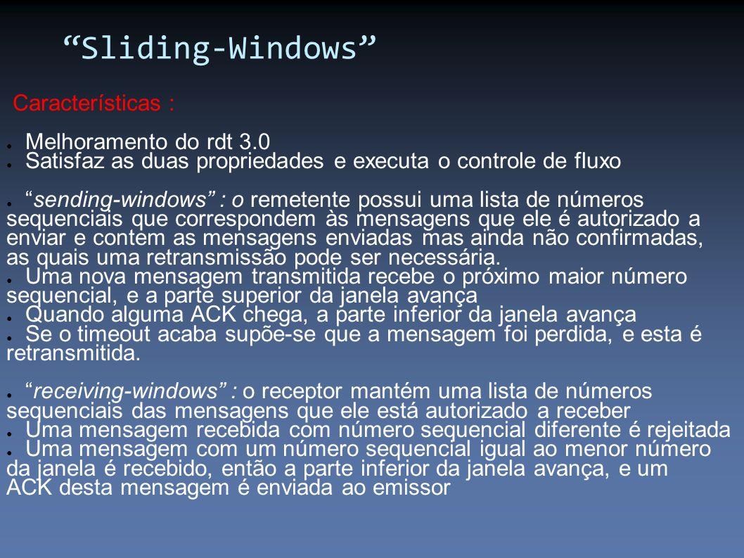 Sliding-Windows Características : Melhoramento do rdt 3.0