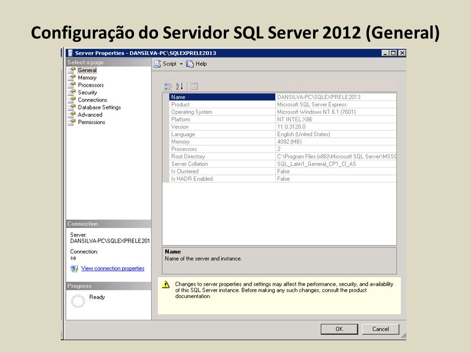 Configuração do Servidor SQL Server 2012 (General)
