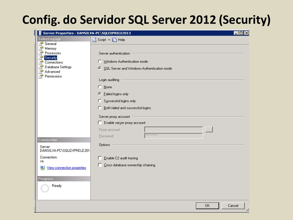 Config. do Servidor SQL Server 2012 (Security)
