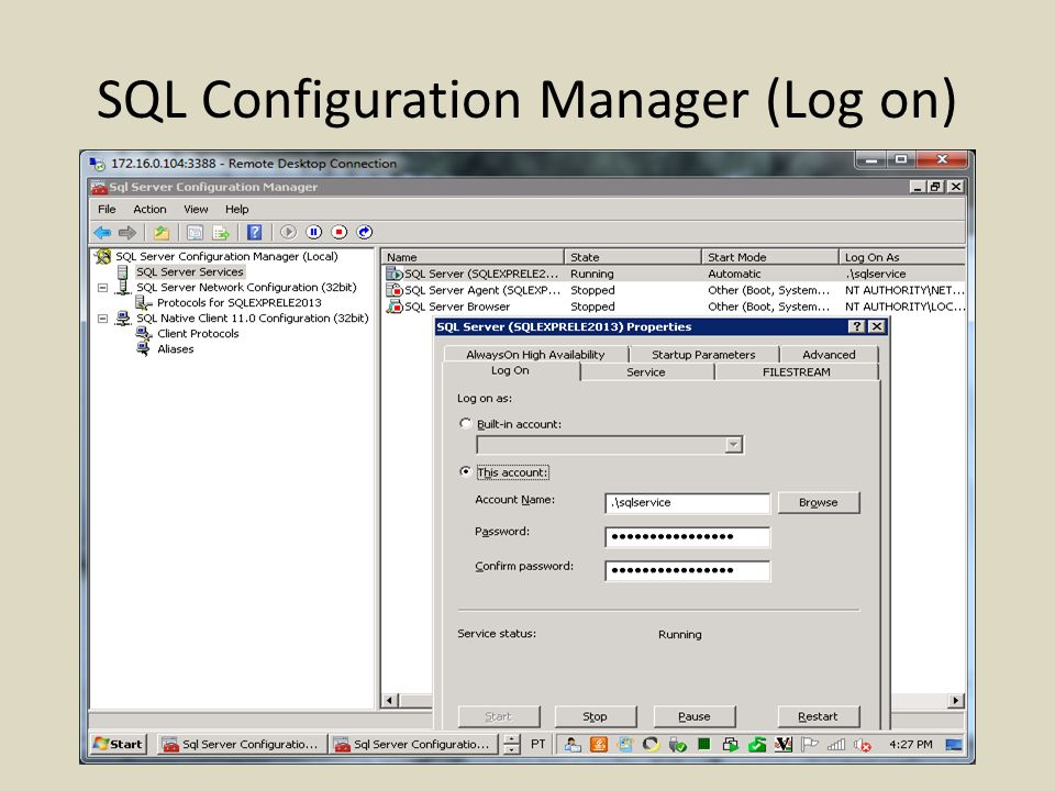 SQL Configuration Manager (Log on)