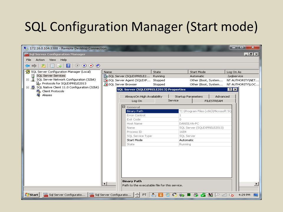 SQL Configuration Manager (Start mode)
