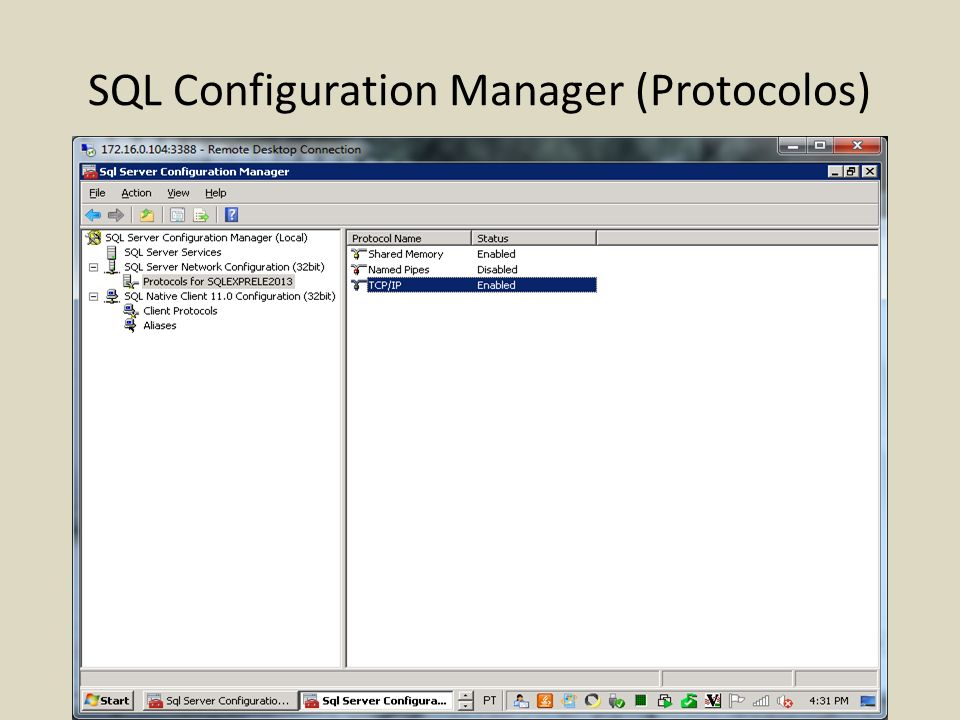 SQL Configuration Manager (Protocolos)