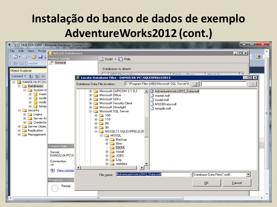 Instalação do banco de dados de exemplo AdventureWorks2012 (cont.)