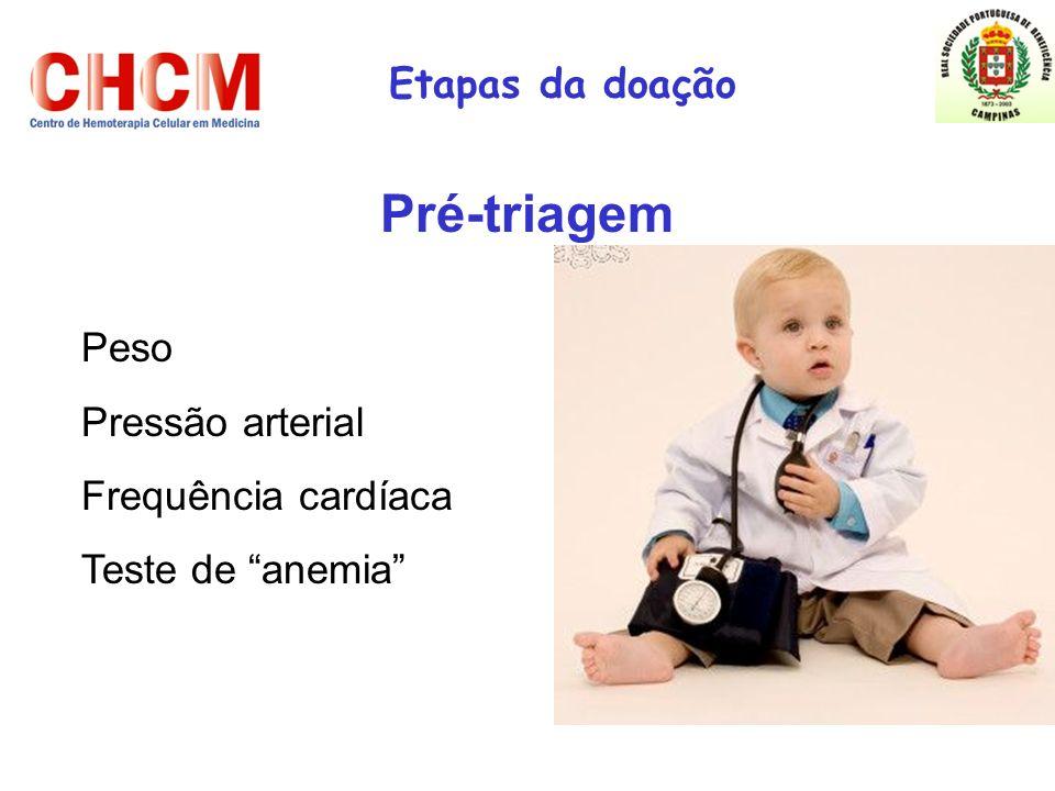 Pré-triagem Etapas da doação Peso Pressão arterial Frequência cardíaca