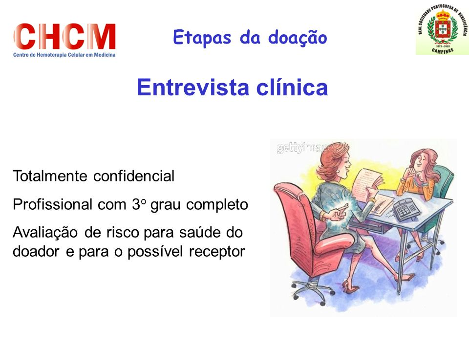 Entrevista clínica Etapas da doação Totalmente confidencial