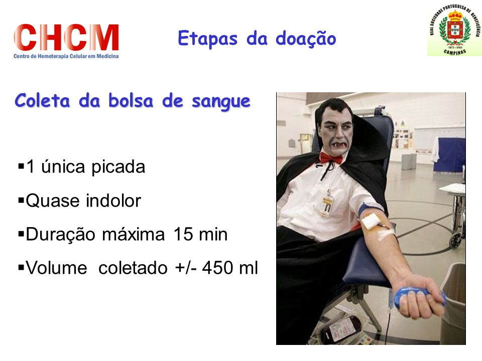 Coleta da bolsa de sangue