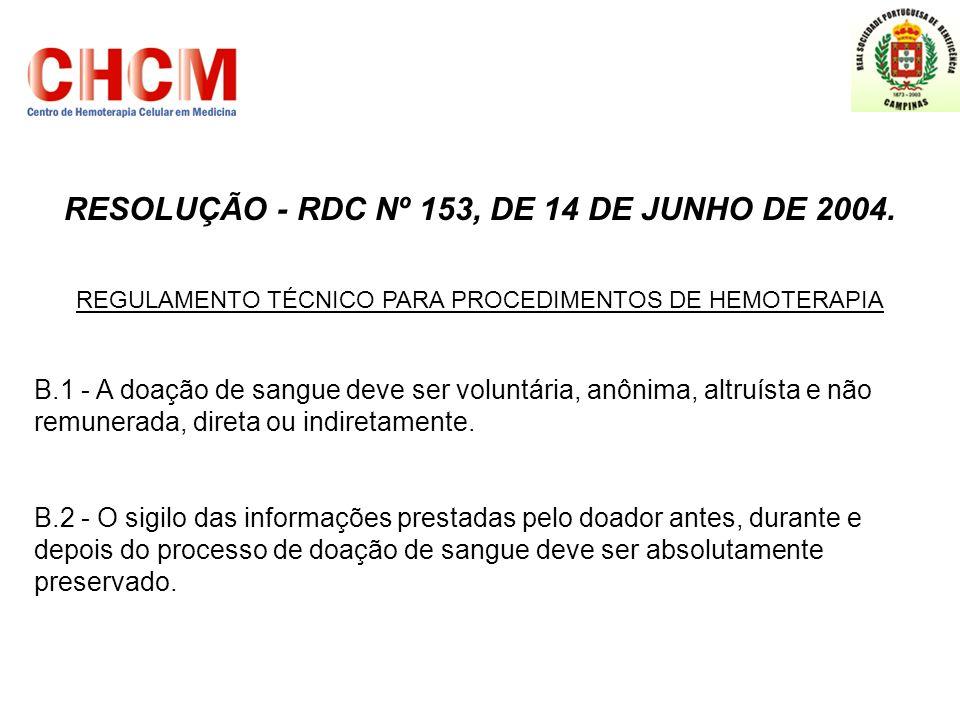 RESOLUÇÃO - RDC Nº 153, DE 14 DE JUNHO DE 2004.