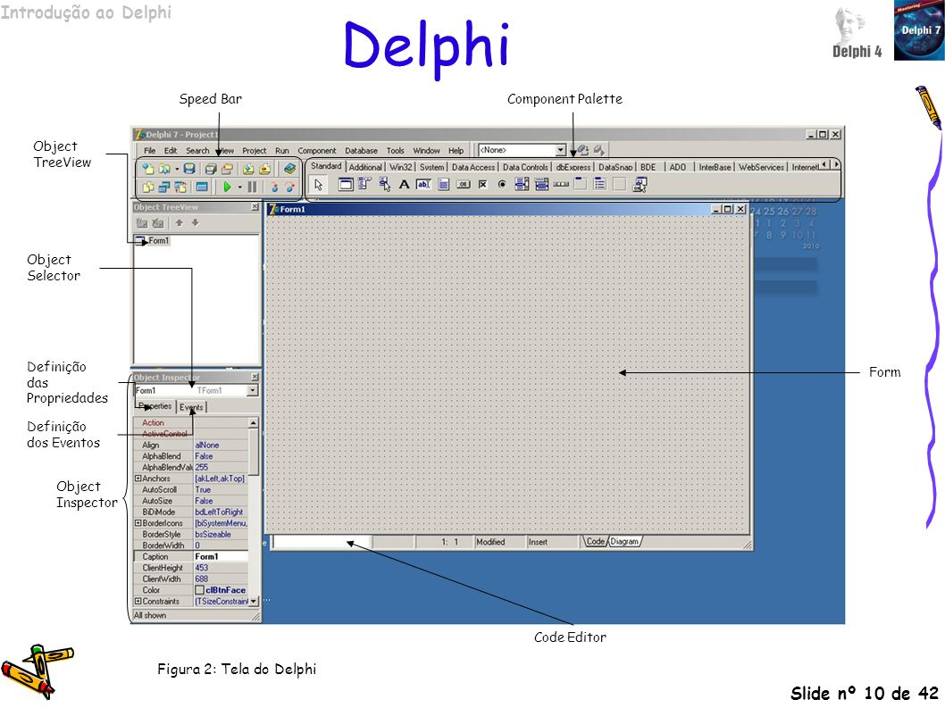Delphi Figura 2: Tela do Delphi Speed Bar Component Palette