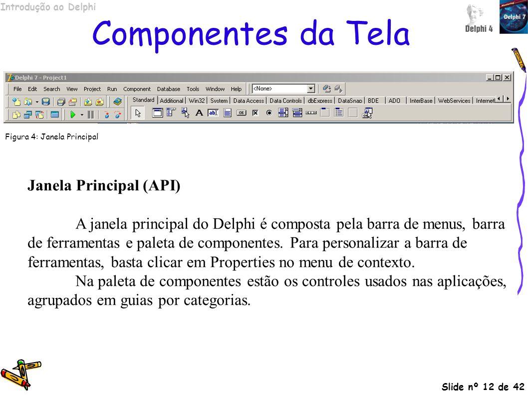 Componentes da Tela Janela Principal (API)