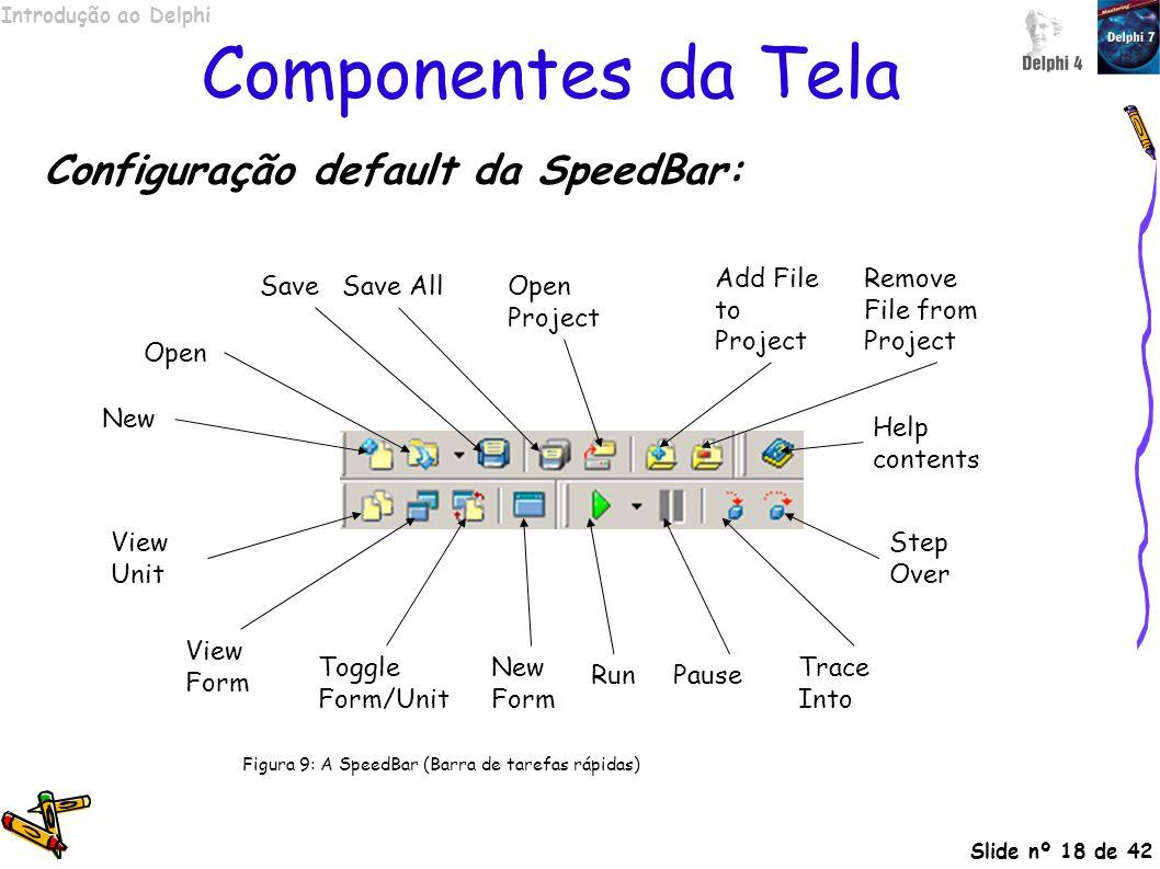 Componentes da Tela Configuração default da SpeedBar:
