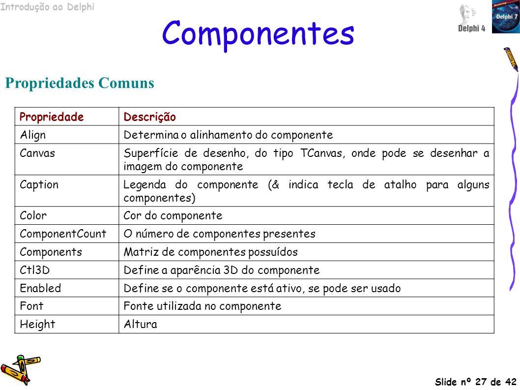 Componentes Propriedades Comuns Propriedade Descrição Align