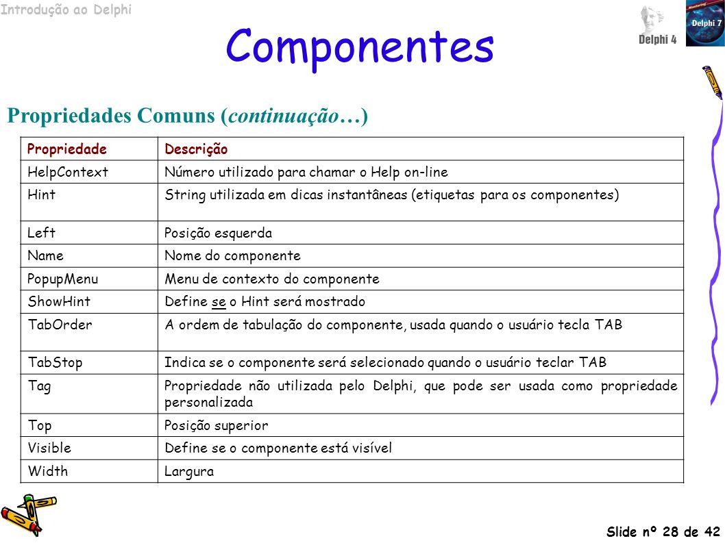 Componentes Propriedades Comuns (continuação…) Propriedade Descrição