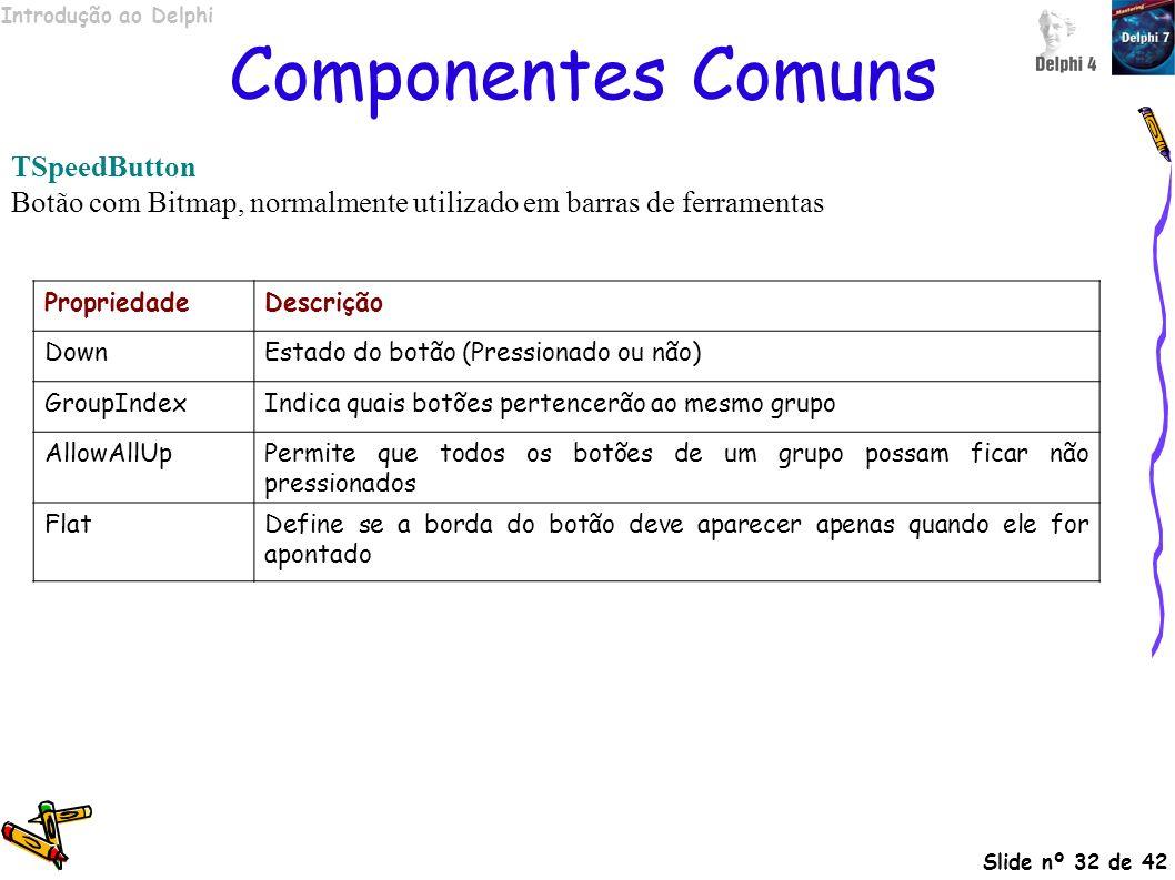Componentes Comuns TSpeedButton