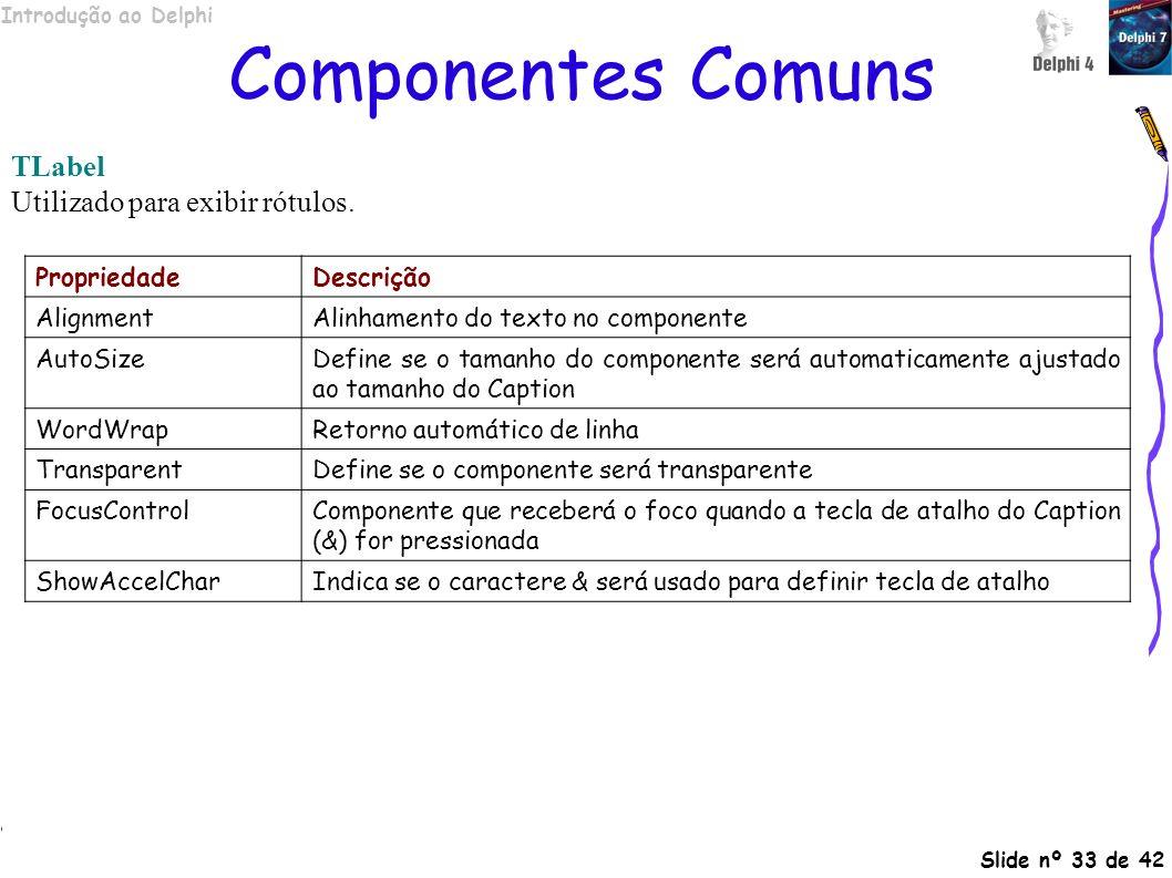 Componentes Comuns TLabel Utilizado para exibir rótulos. Propriedade