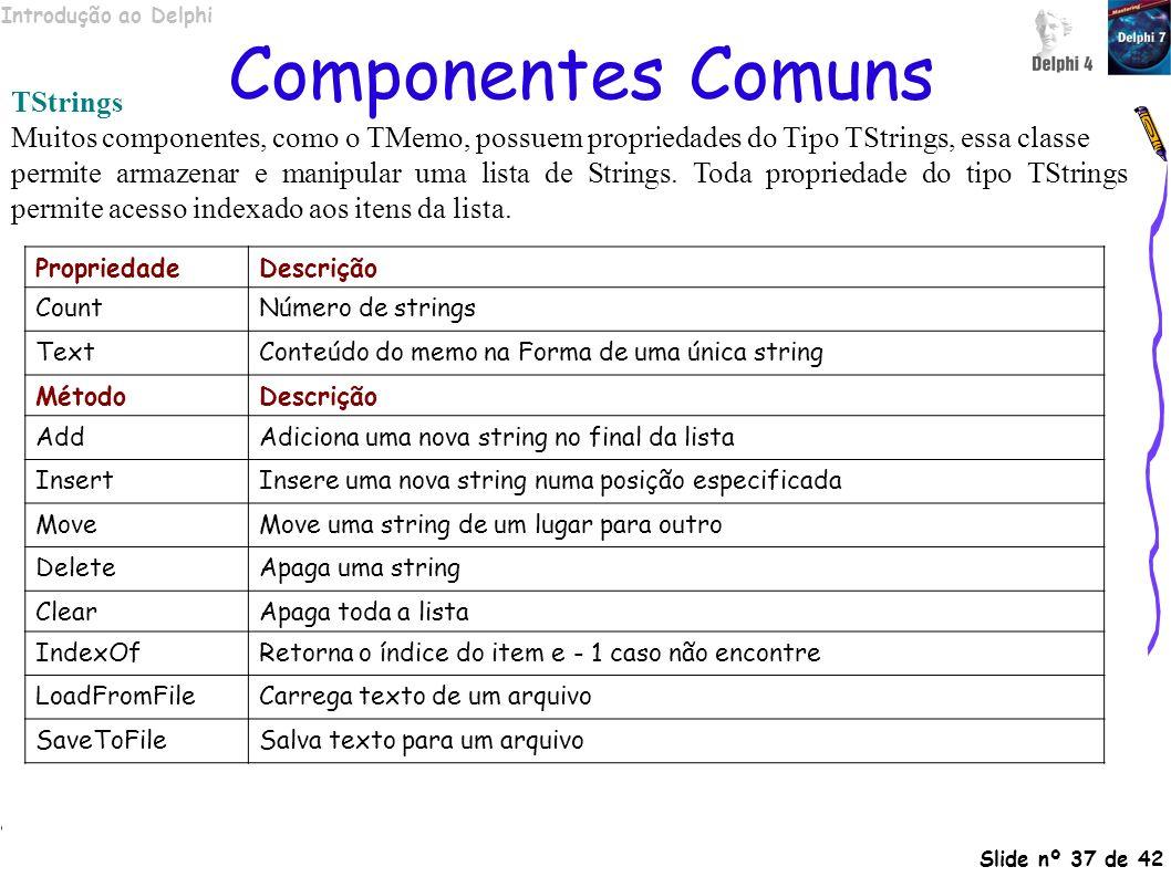 Componentes Comuns TStrings