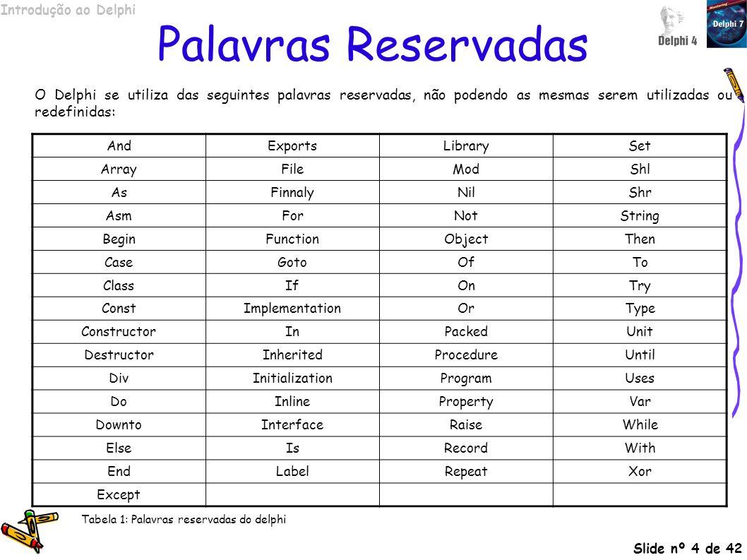 Palavras Reservadas O Delphi se utiliza das seguintes palavras reservadas, não podendo as mesmas serem utilizadas ou redefinidas: