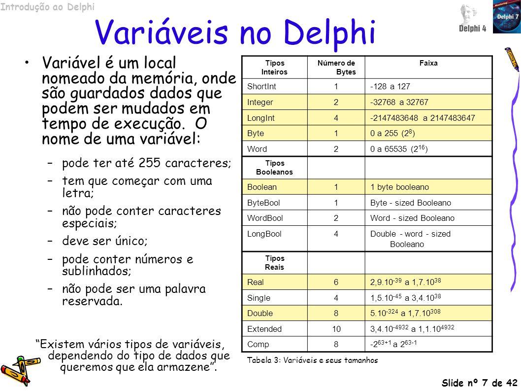 Variáveis no Delphi