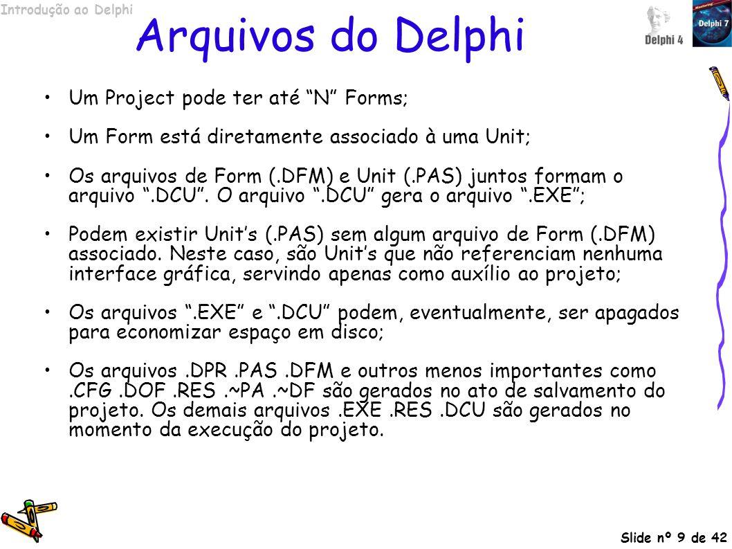 Arquivos do Delphi Um Project pode ter até N Forms;