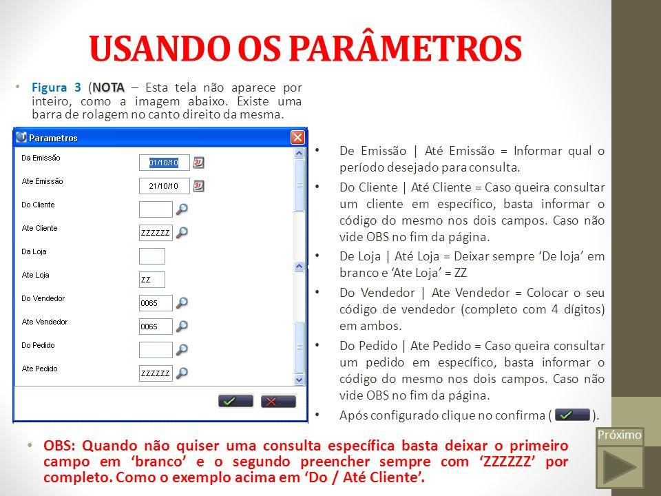 USANDO OS PARÂMETROS Figura 3 (NOTA – Esta tela não aparece por inteiro, como a imagem abaixo. Existe uma barra de rolagem no canto direito da mesma.