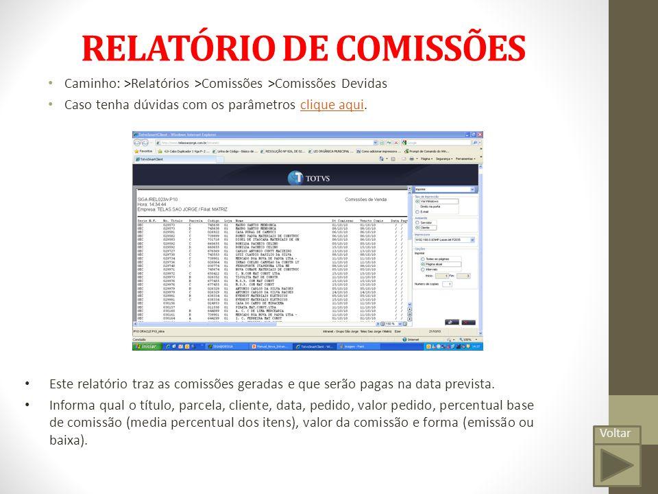 RELATÓRIO DE COMISSÕES