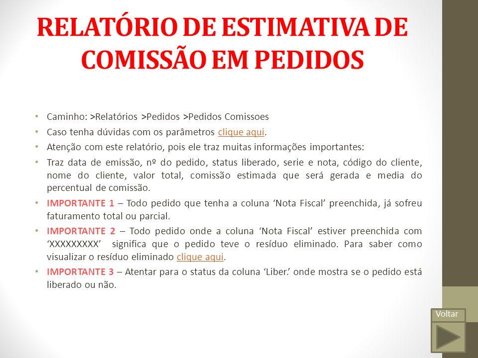 RELATÓRIO DE ESTIMATIVA DE COMISSÃO EM PEDIDOS