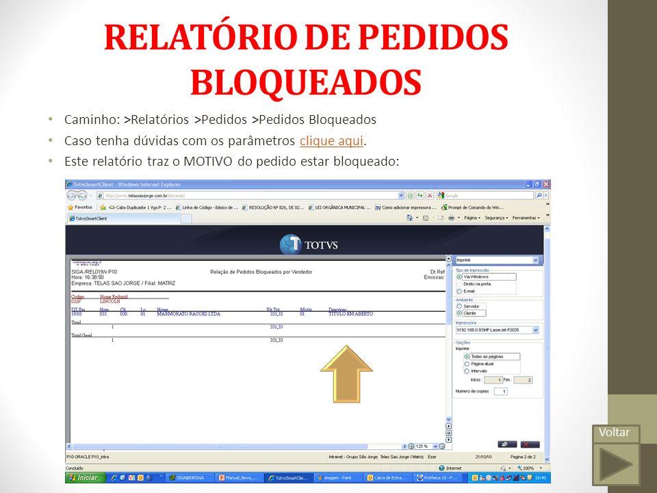 RELATÓRIO DE PEDIDOS BLOQUEADOS