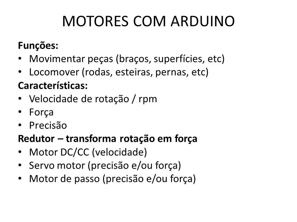 MOTORES COM ARDUINO Funções: