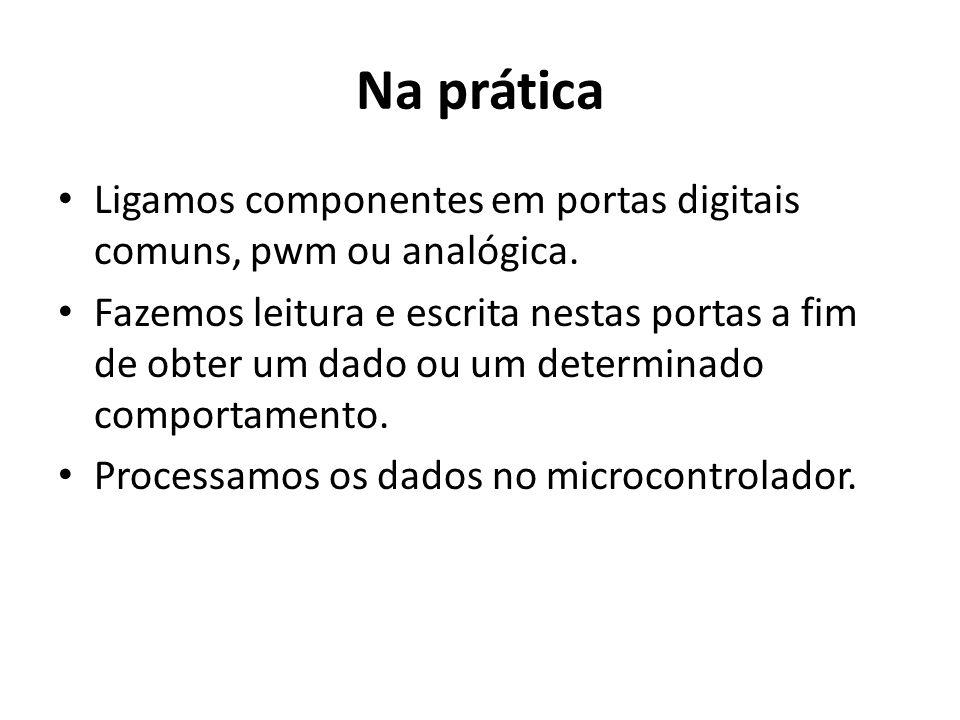 Na prática Ligamos componentes em portas digitais comuns, pwm ou analógica.