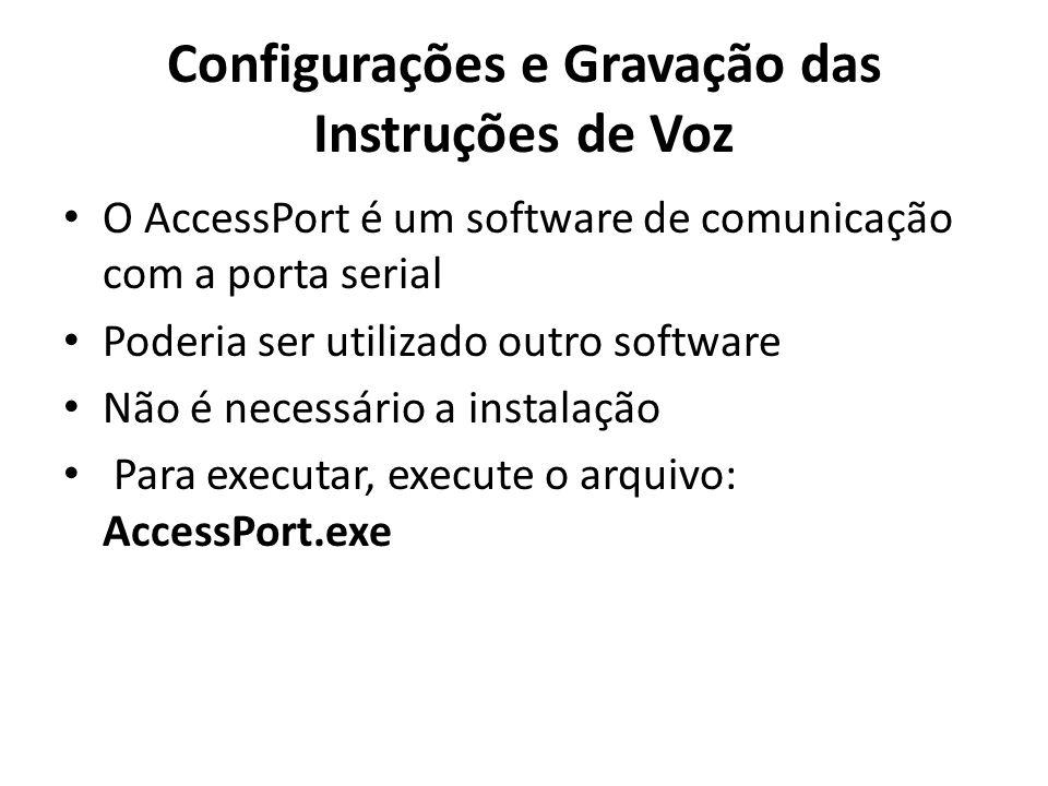 Configurações e Gravação das Instruções de Voz