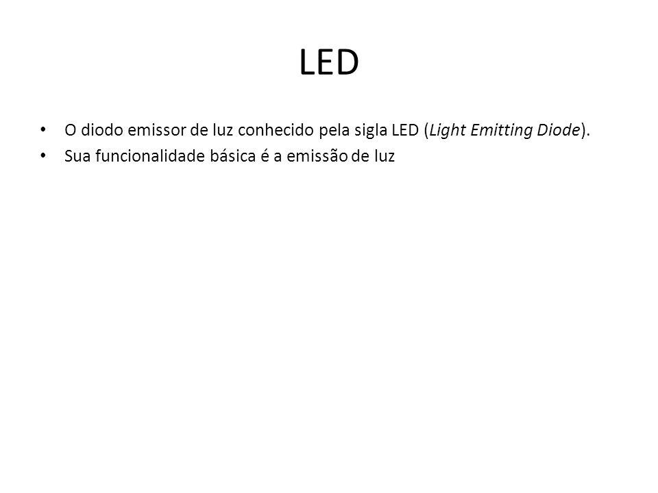 LED O diodo emissor de luz conhecido pela sigla LED (Light Emitting Diode).