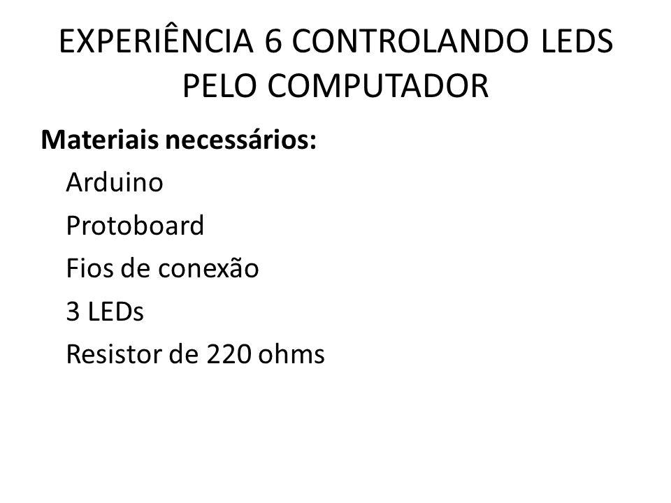 EXPERIÊNCIA 6 CONTROLANDO LEDS PELO COMPUTADOR