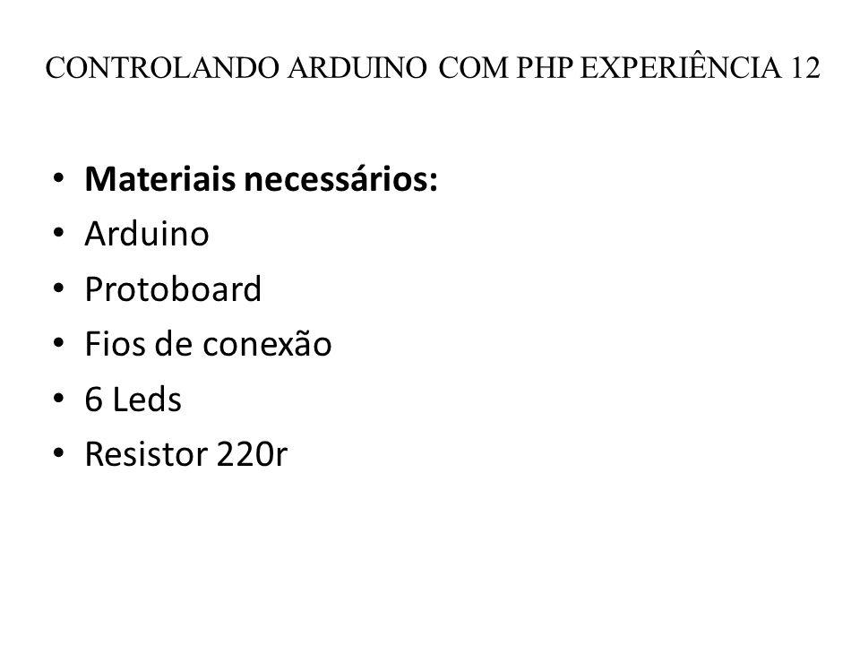CONTROLANDO ARDUINO COM PHP EXPERIÊNCIA 12