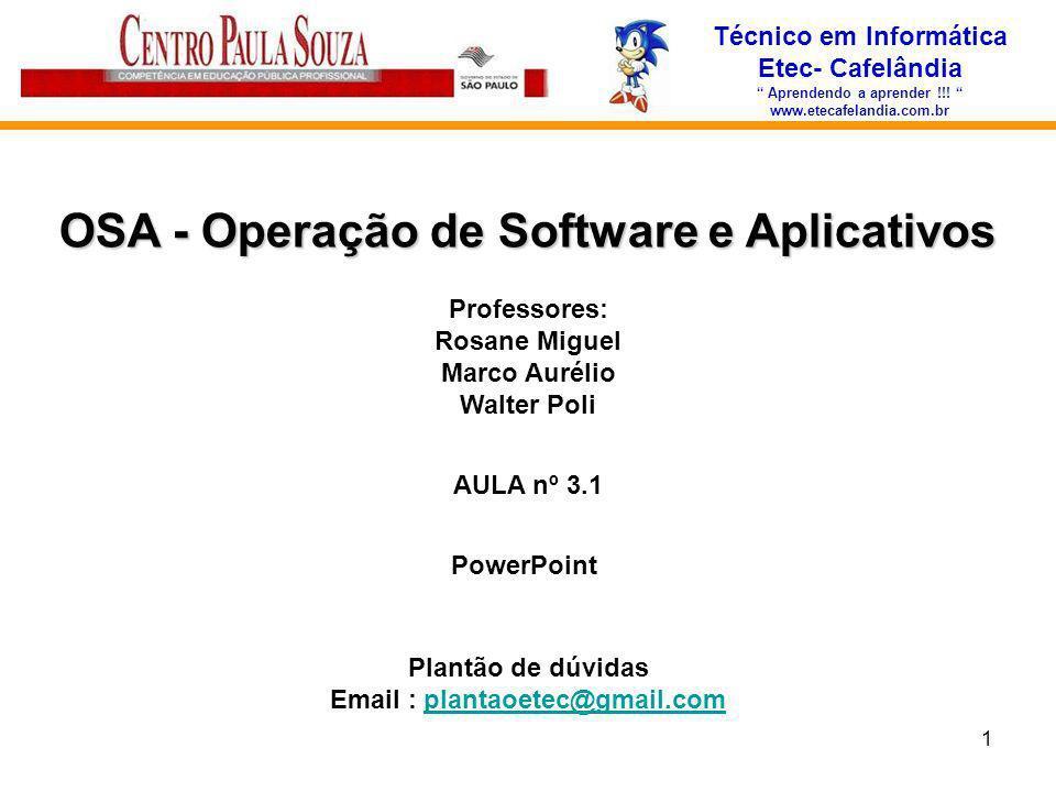 OSA - Operação de Software e Aplicativos