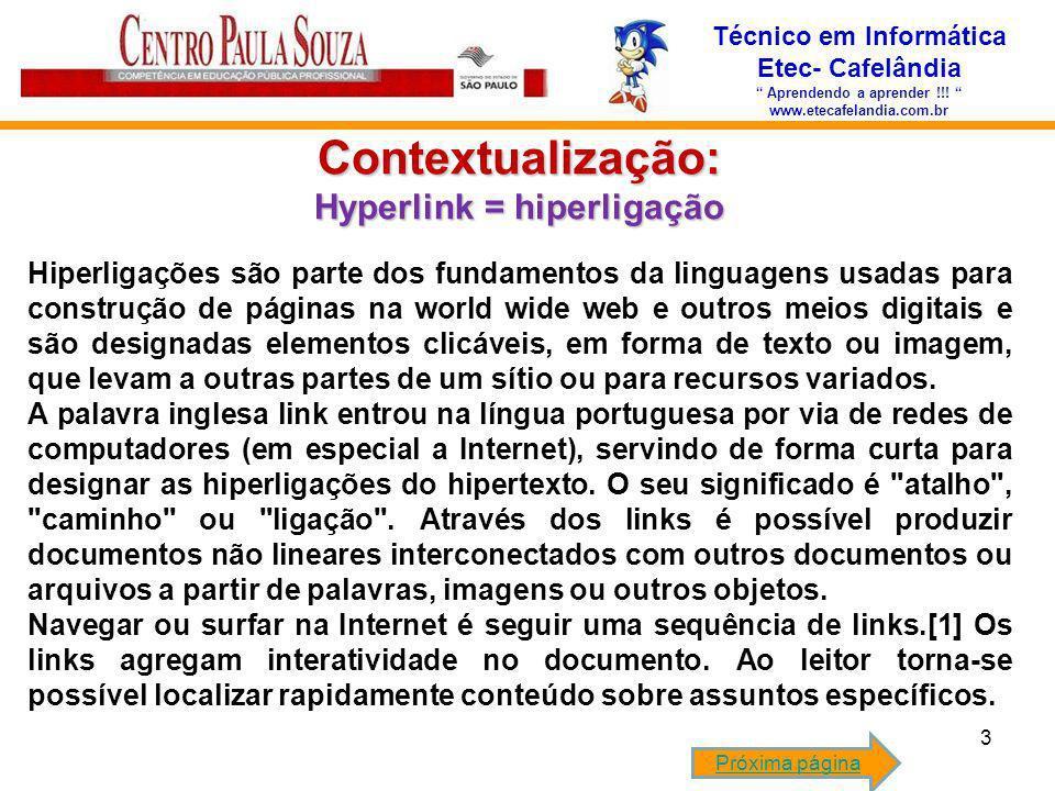 Contextualização: Hyperlink = hiperligação