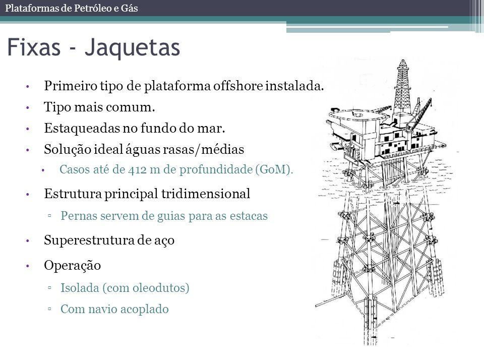 Fixas - Jaquetas Primeiro tipo de plataforma offshore instalada.