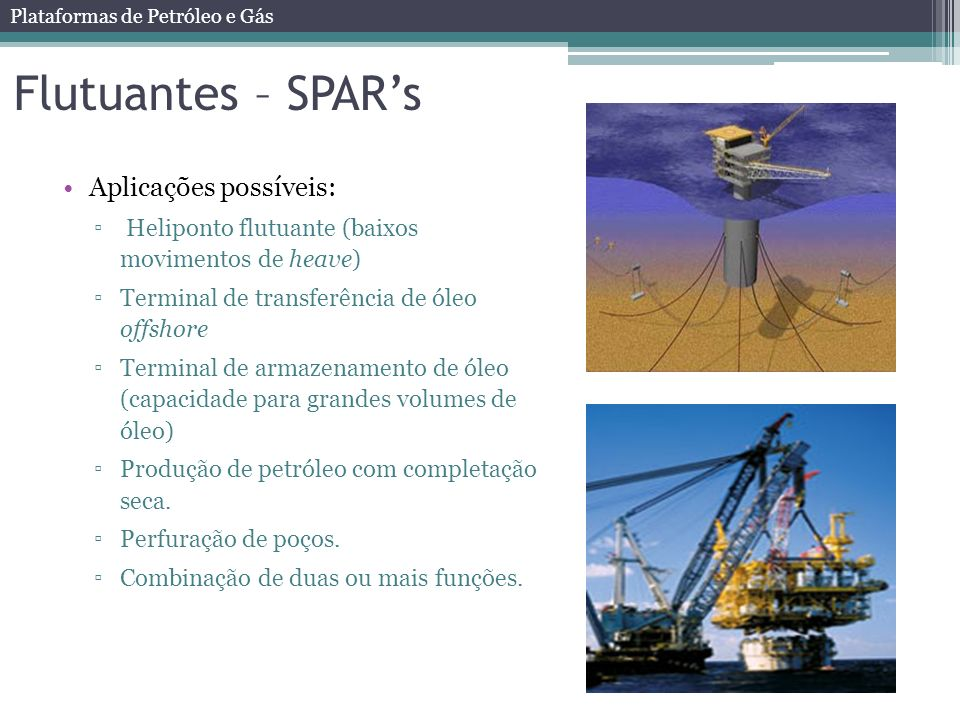 Flutuantes – SPAR's Aplicações possíveis: