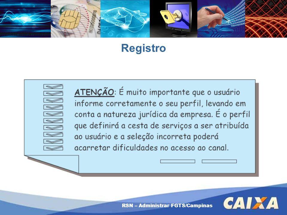 Registro RSN – Administrar FGTS/Campinas