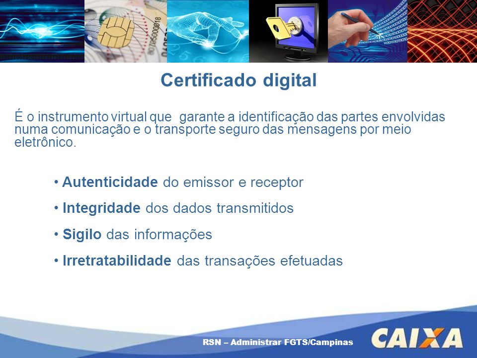 Certificado digital Autenticidade do emissor e receptor