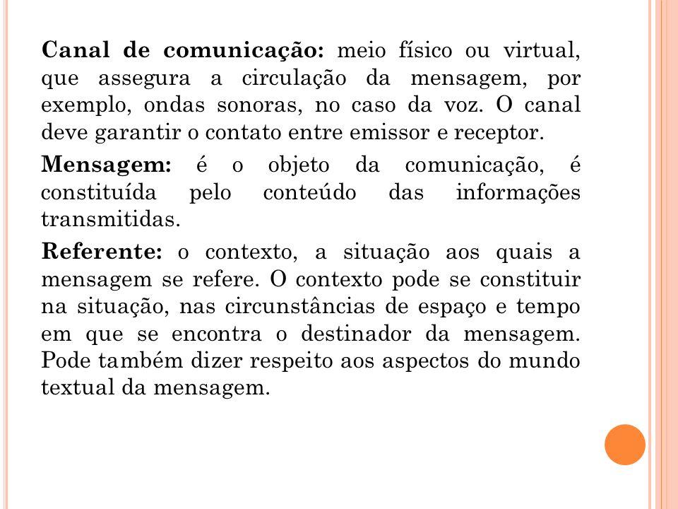 Canal de comunicação: meio físico ou virtual, que assegura a circulação da mensagem, por exemplo, ondas sonoras, no caso da voz. O canal deve garantir o contato entre emissor e receptor.