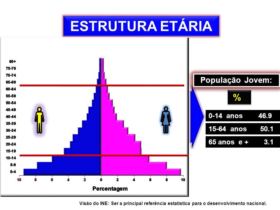 ESTRUTURA ETÁRIA % População Jovem: 0-14 anos 46.9 15-64 anos 50.1