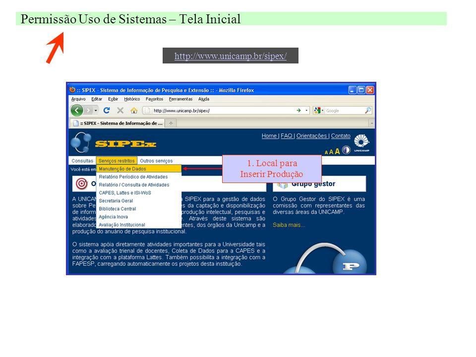 Permissão Uso de Sistemas – Tela Inicial