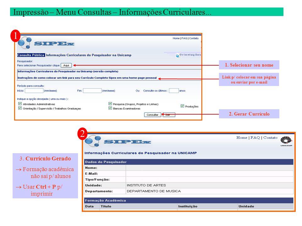Impressão – Menu Consultas – Informações Curriculares...