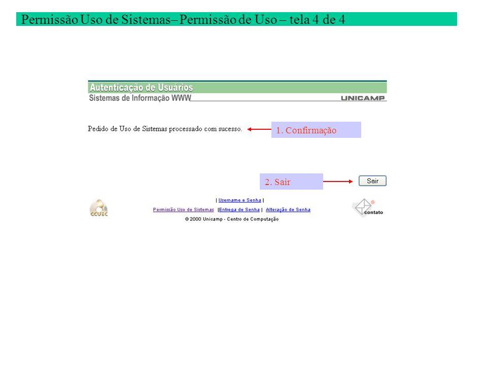 Permissão Uso de Sistemas– Permissão de Uso – tela 4 de 4