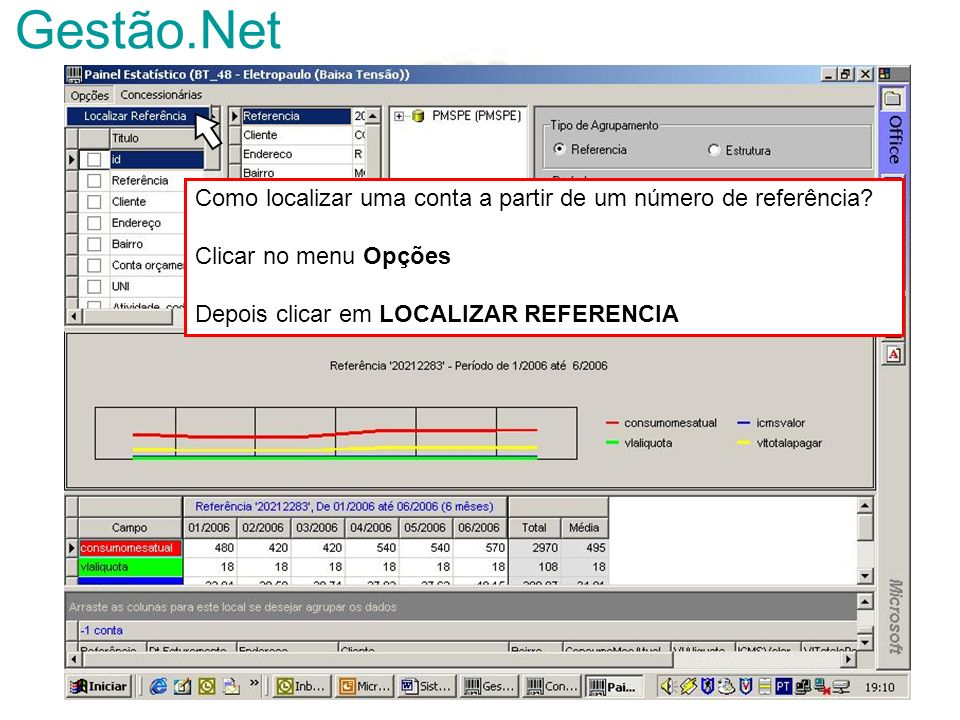 Gestão.Net Como localizar uma conta a partir de um número de referência.