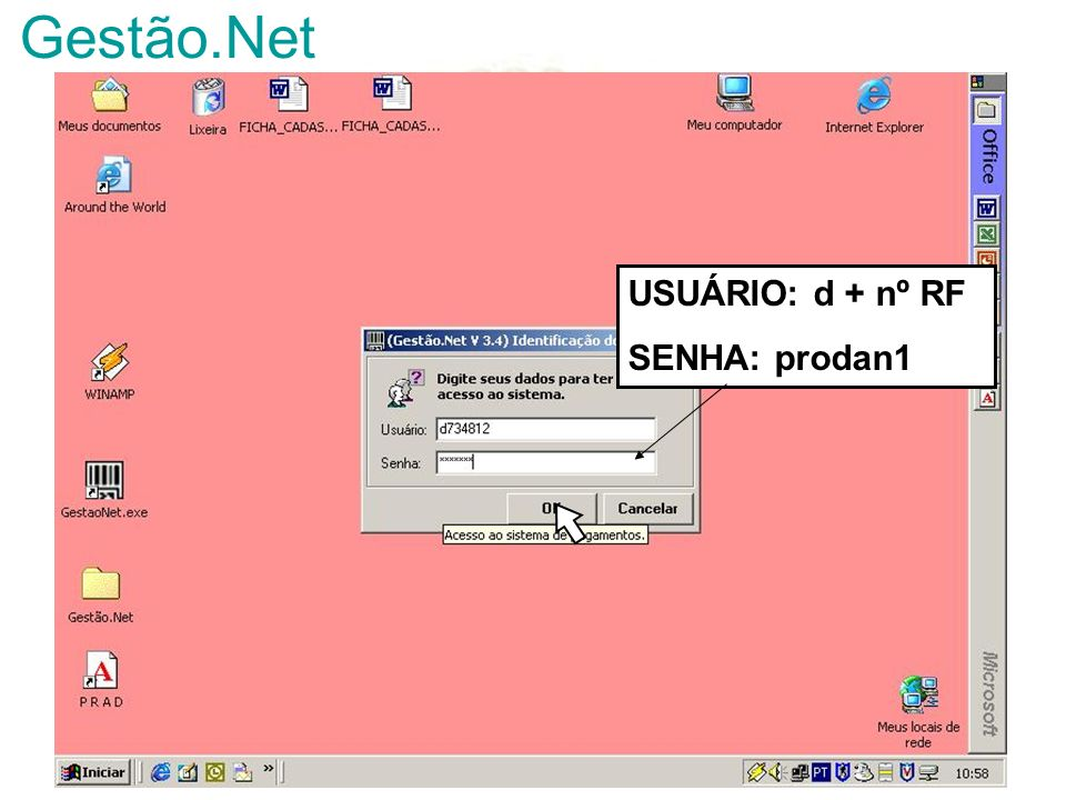Gestão.Net USUÁRIO: d + nº RF SENHA: prodan1