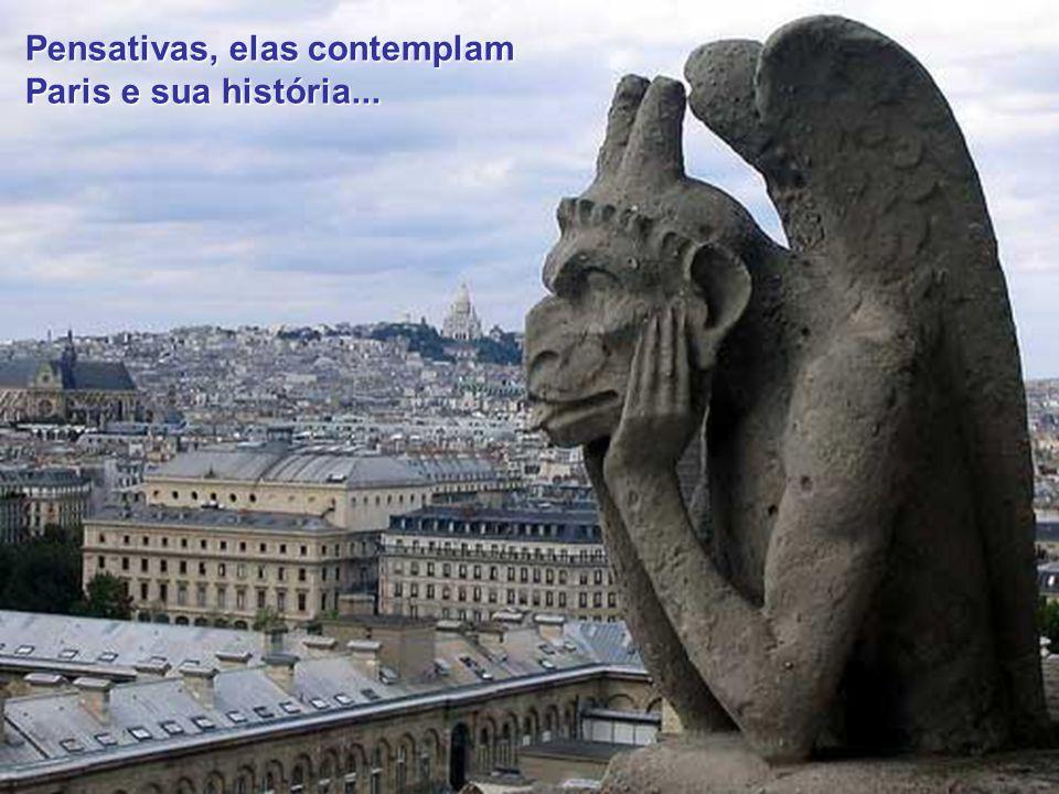 Pensativas, elas contemplam Paris e sua história...