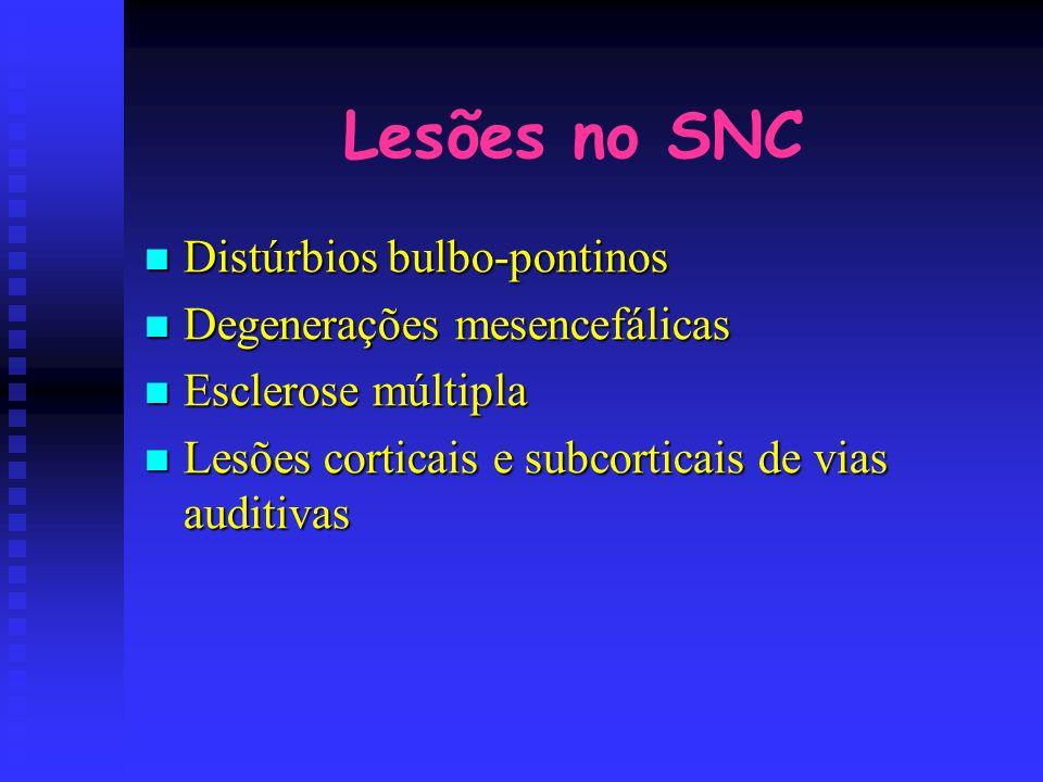 Lesões no SNC Distúrbios bulbo-pontinos Degenerações mesencefálicas