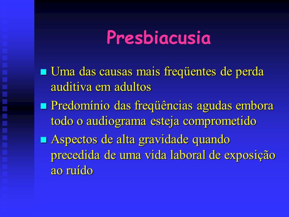 Presbiacusia Uma das causas mais freqüentes de perda auditiva em adultos.