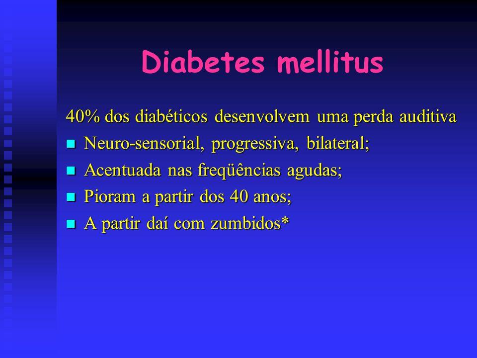 Diabetes mellitus 40% dos diabéticos desenvolvem uma perda auditiva