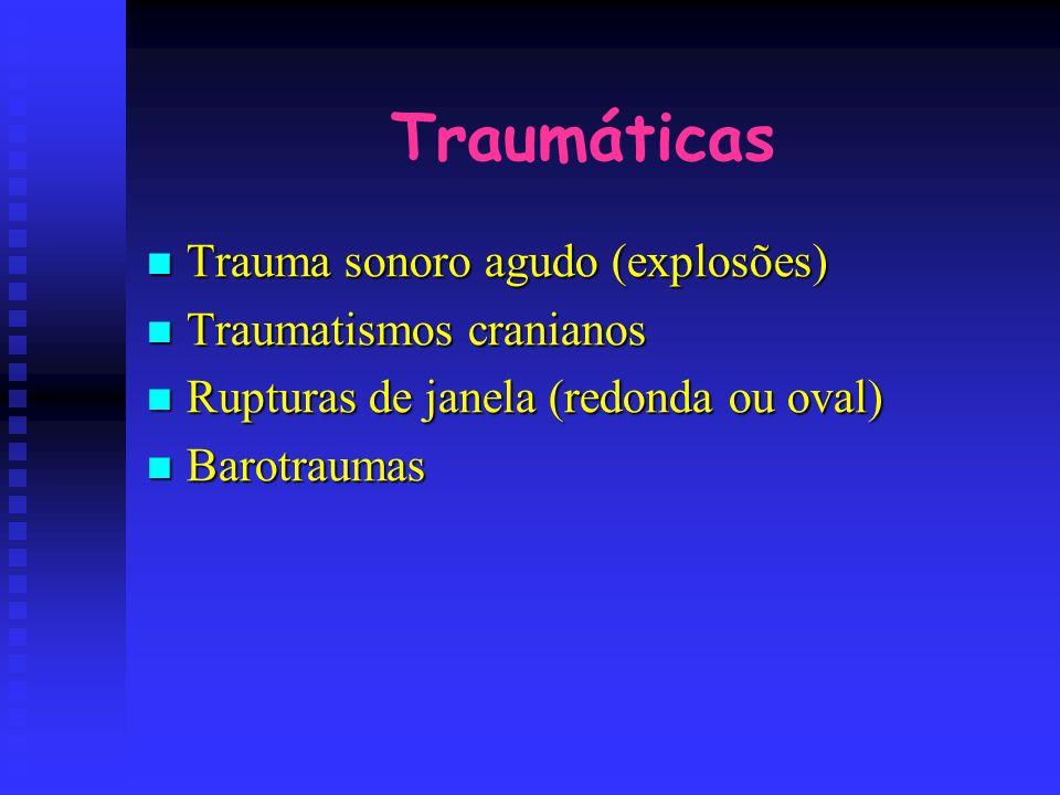 Traumáticas Trauma sonoro agudo (explosões) Traumatismos cranianos